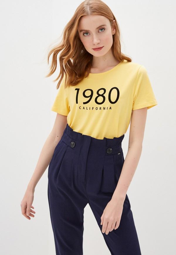 женская футболка b.young, желтая