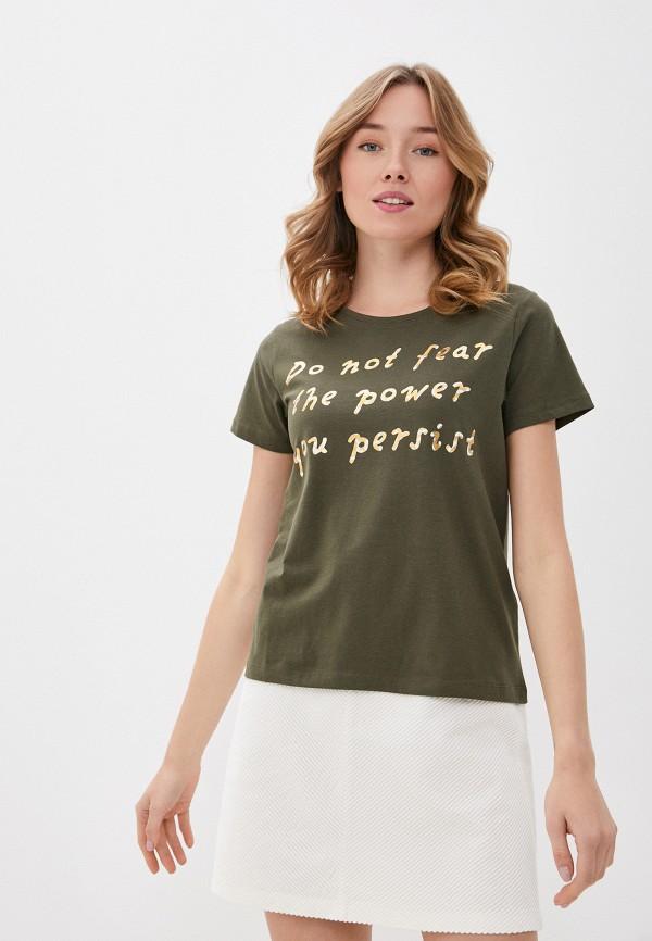 женская футболка b.young, хаки