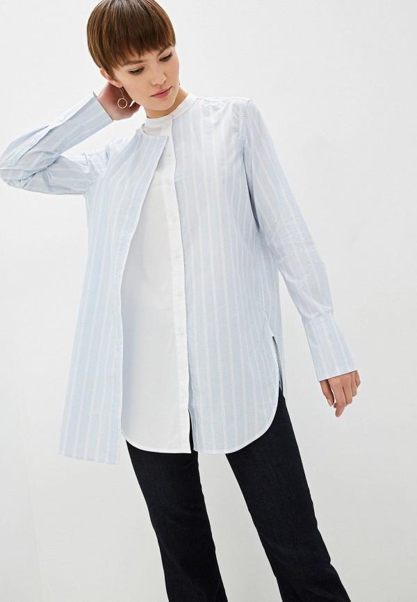 женская рубашка с длинным рукавом by malene birger, голубая