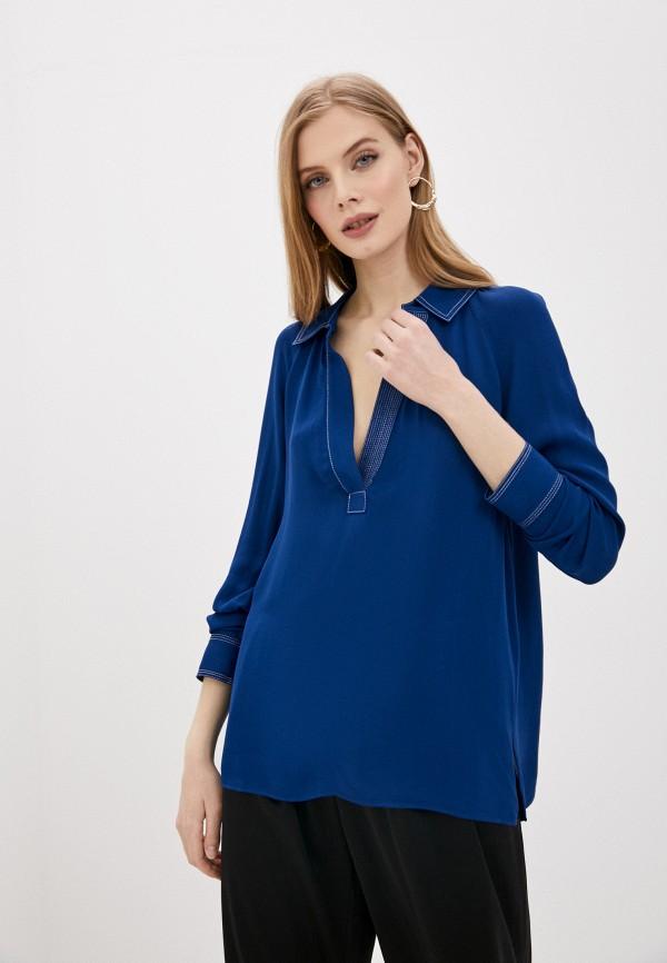 женская блузка by malene birger, синяя