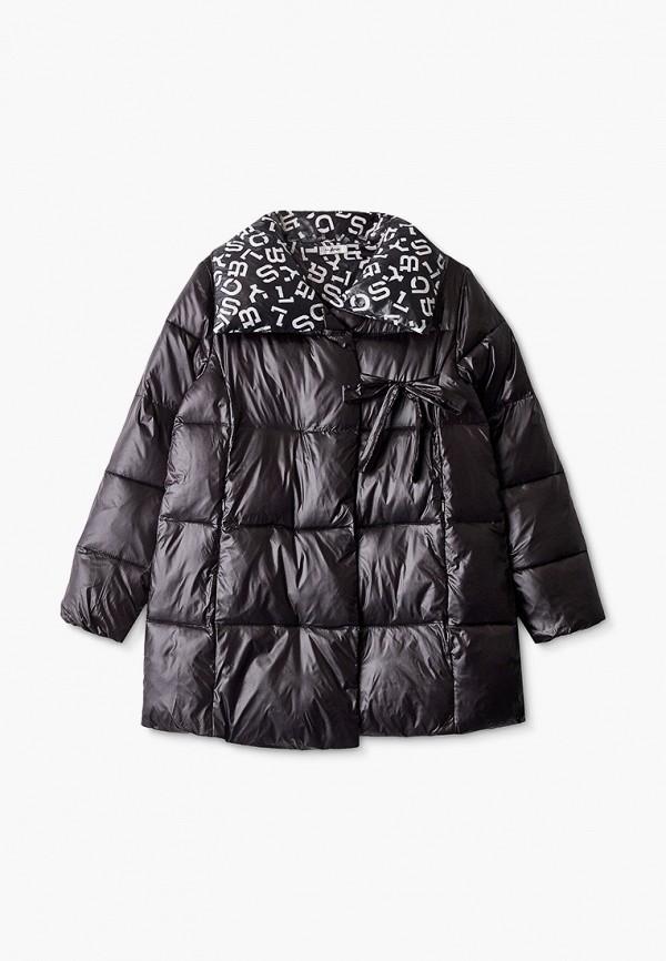 утепленные куртка byblos для девочки, черная