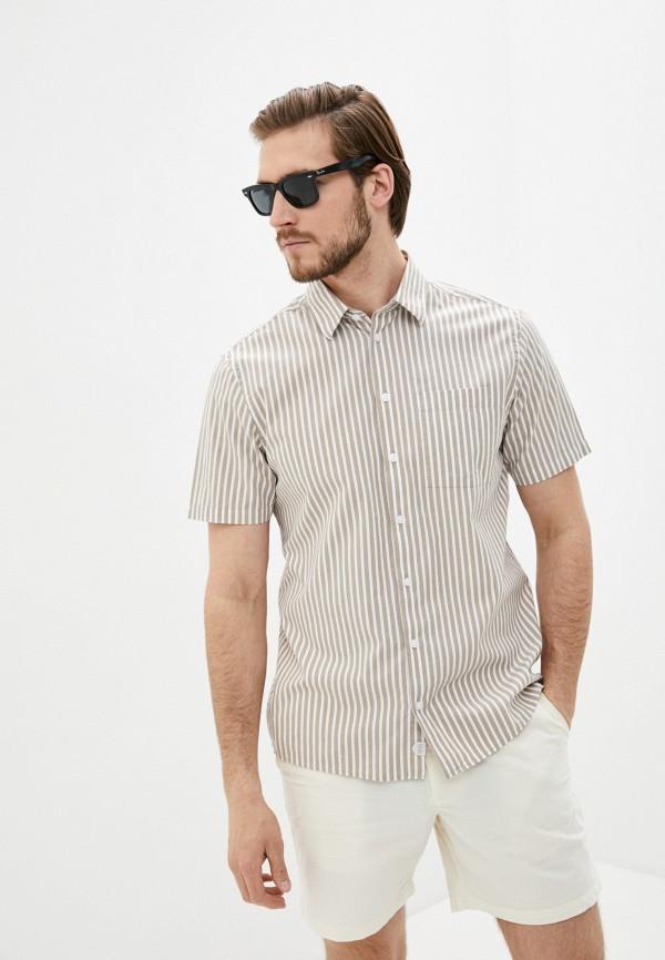 мужская рубашка с коротким рукавом casual friday by blend, бежевая