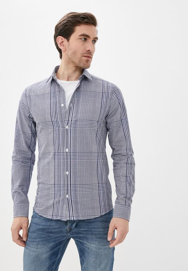 мужская рубашка с коротким рукавом casual friday by blend, синяя