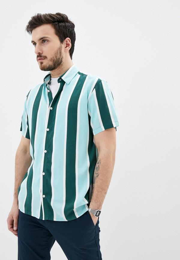мужская рубашка с коротким рукавом casual friday by blend, зеленая