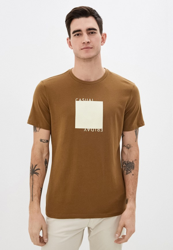 мужская футболка с коротким рукавом casual friday by blend, хаки