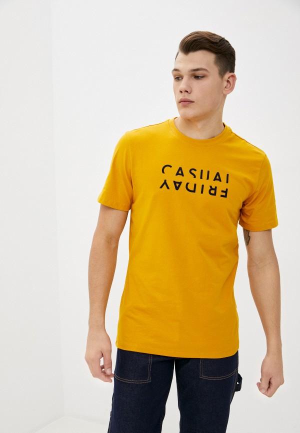 мужская футболка с коротким рукавом casual friday by blend, желтая