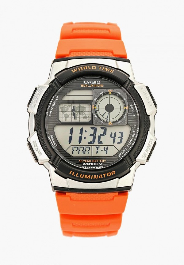 женские часы casio, оранжевые