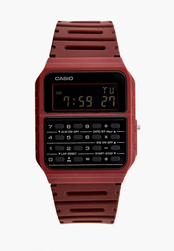 женские часы casio, бордовые