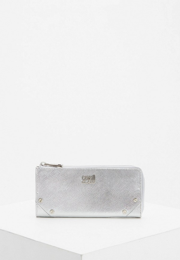 женский кошелёк cavalli class, серебряный