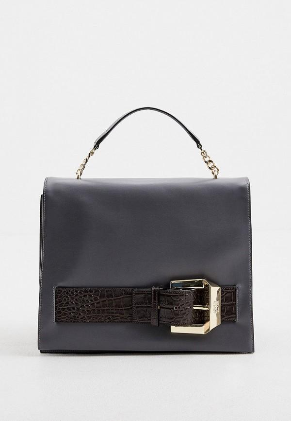 женская сумка с ручками cavalli class, серая
