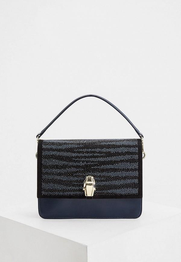 женская сумка через плечо cavalli class, синяя