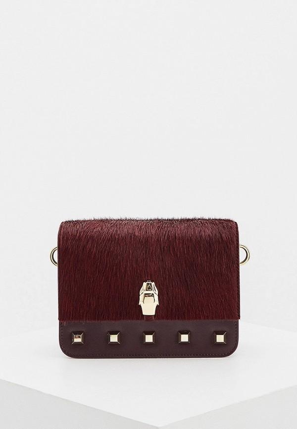 женская сумка через плечо cavalli class, бордовая