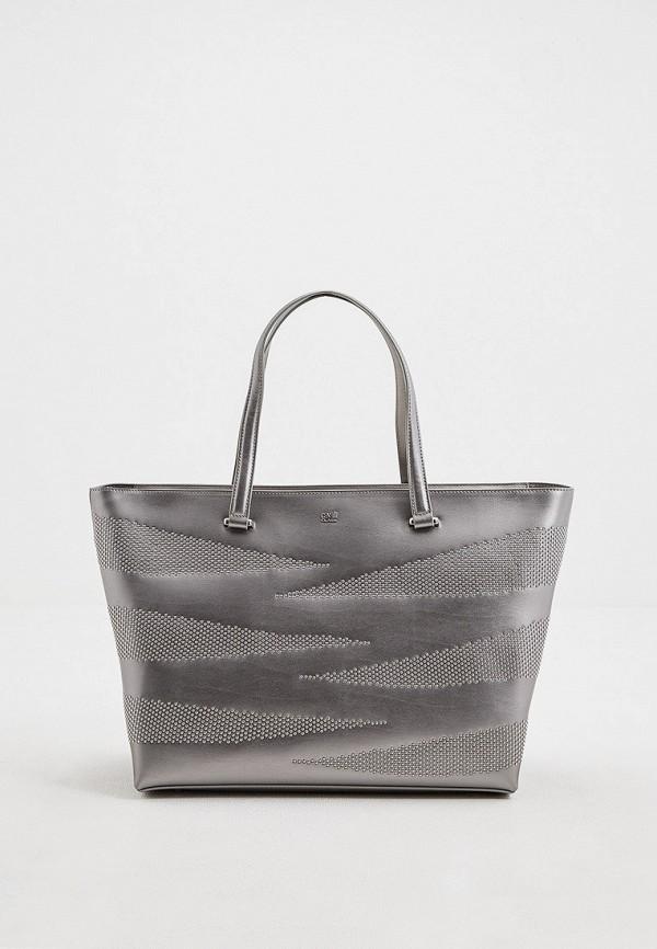 женская сумка-шоперы cavalli class, серебряная