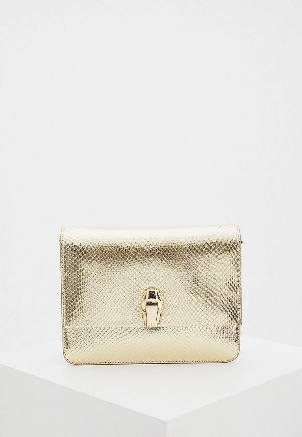 женская сумка через плечо cavalli class, золотая