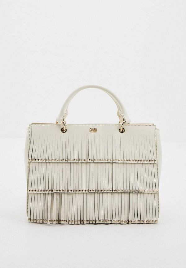 женская сумка через плечо cavalli class, белая