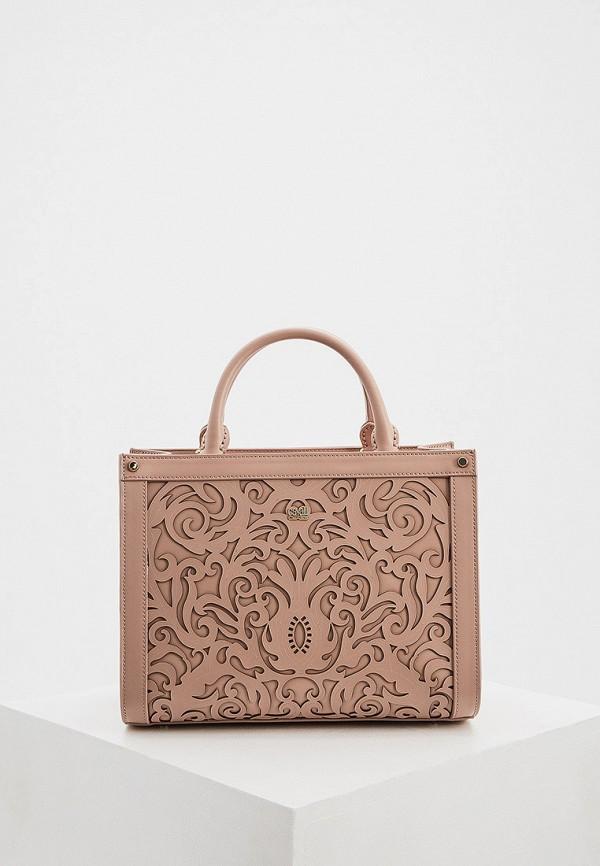женская сумка с ручками cavalli class, розовая
