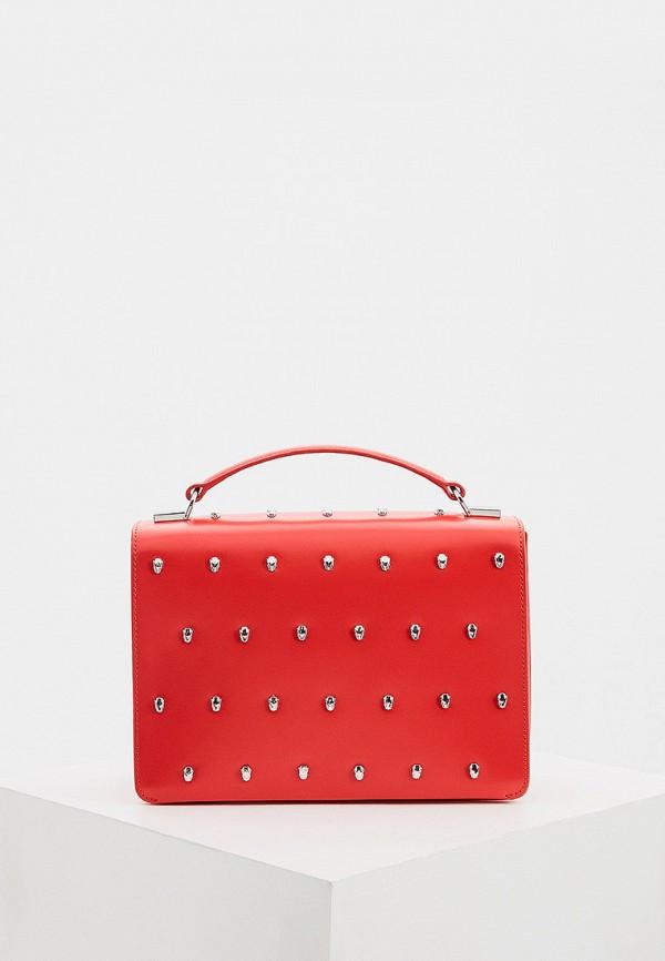 женская сумка с ручками cavalli class, красная
