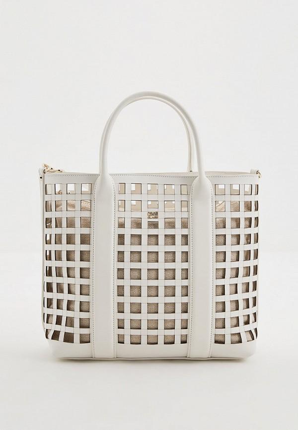 женская сумка с ручками cavalli class, белая