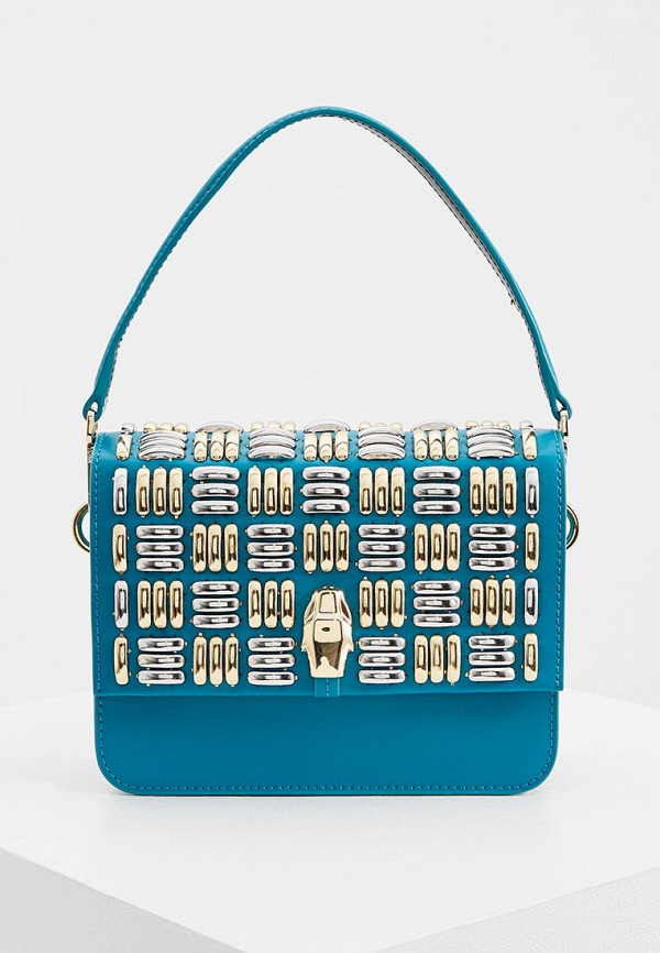 женская сумка через плечо cavalli class, голубая
