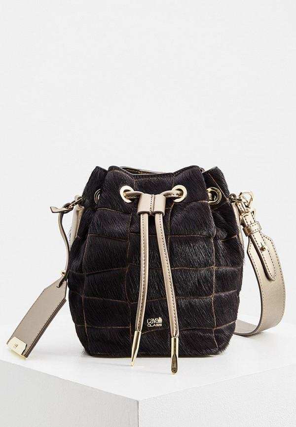 женская сумка-ведро cavalli class, коричневая