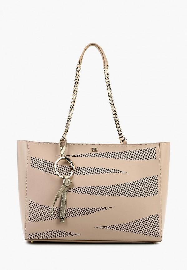 женская сумка с ручками cavalli class, бежевая