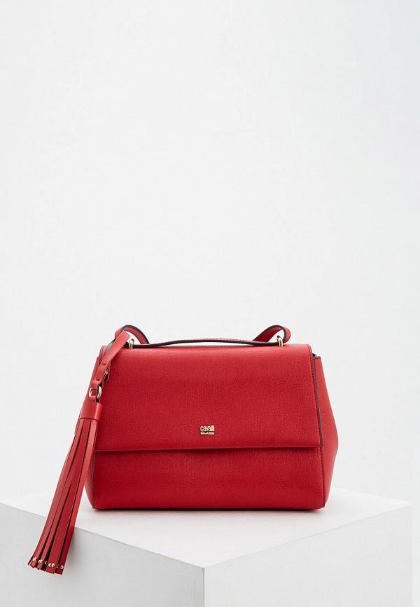 женская сумка через плечо cavalli class, красная