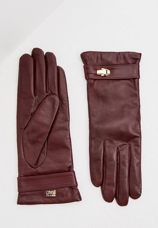 женские кожаные перчатки cavalli class, бордовые