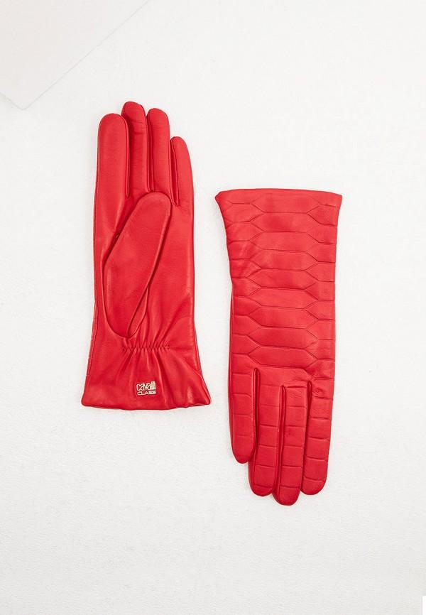 женские кожаные перчатки cavalli class, красные