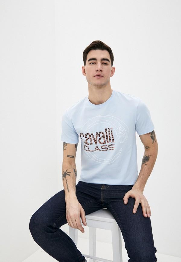 мужская футболка cavalli class, голубая