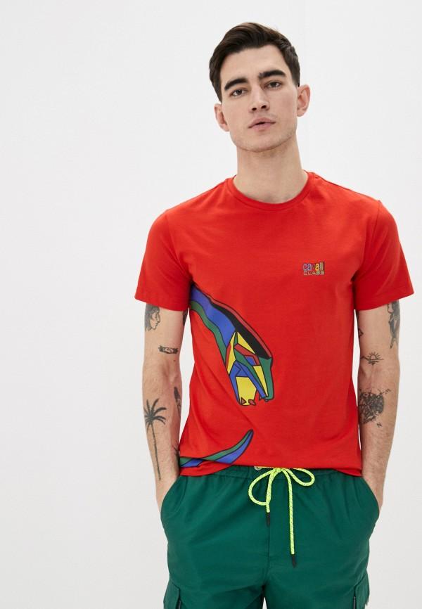 мужская футболка cavalli class, красная
