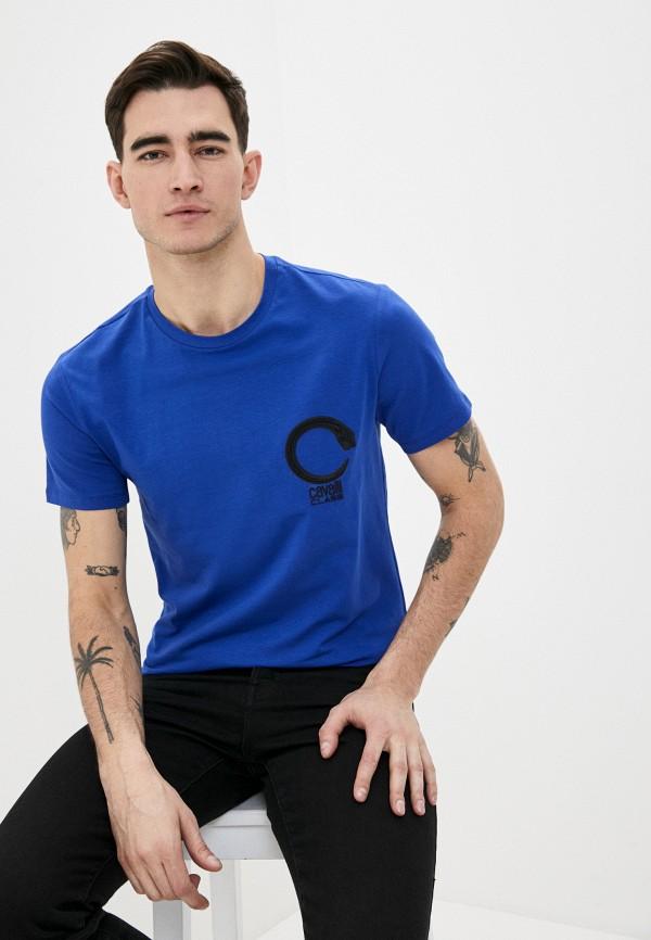 мужская футболка cavalli class, синяя