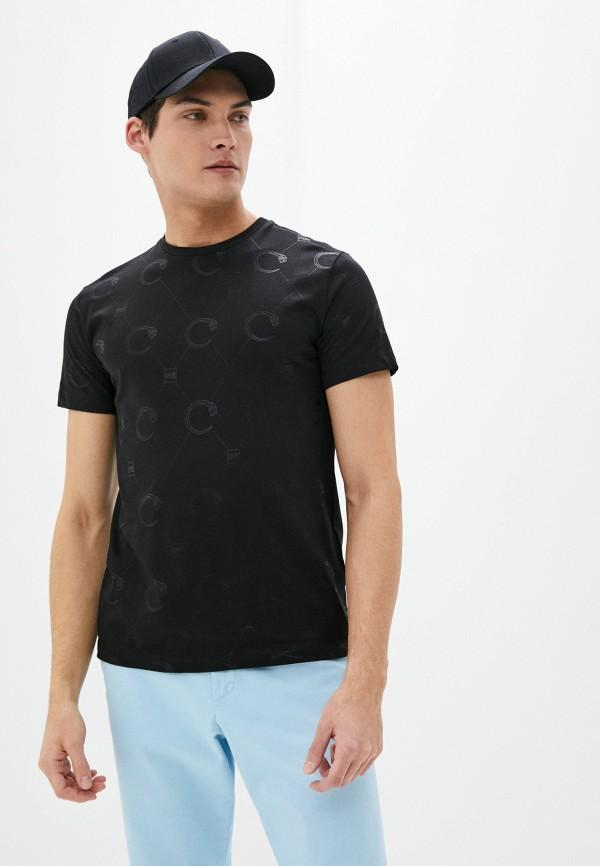 мужская футболка с коротким рукавом cavalli class, черная
