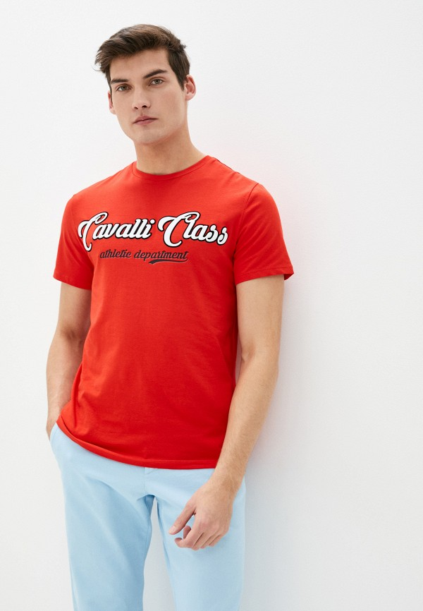 мужская футболка с коротким рукавом cavalli class, красная