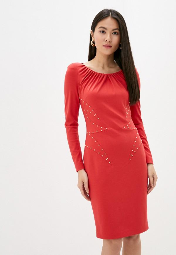 женское платье-футляр cavalli class, красное