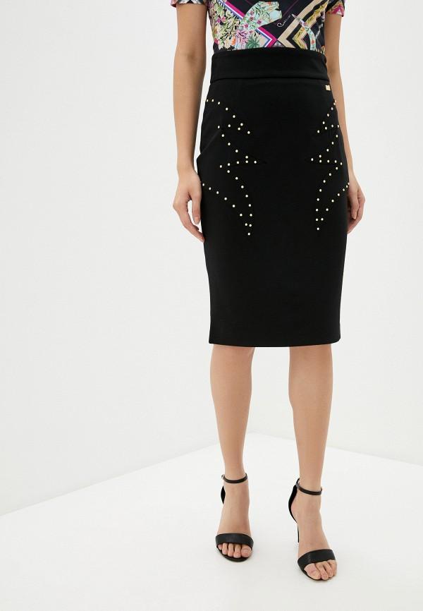 женская юбка миди cavalli class, черная