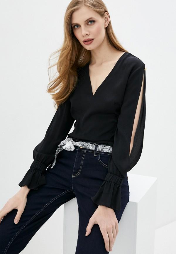 женская блузка с длинным рукавом cavalli class, черная