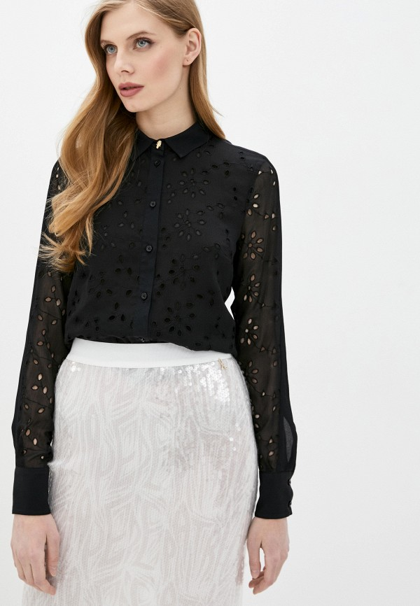 женская кружевные блузка cavalli class, черная