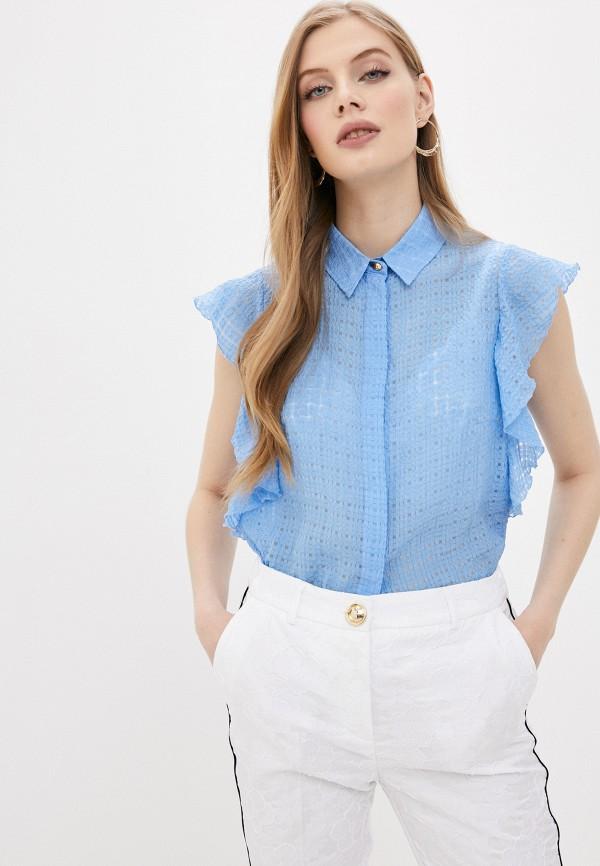 женская блузка cavalli class, голубая