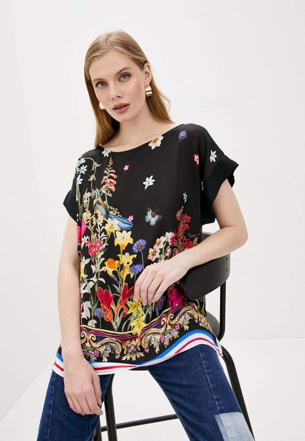 женская блузка с коротким рукавом cavalli class, черная