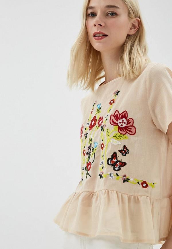 Купить Блуза Care of You, ca084ewbnjb5, бежевый, Осень-зима 2018/2019