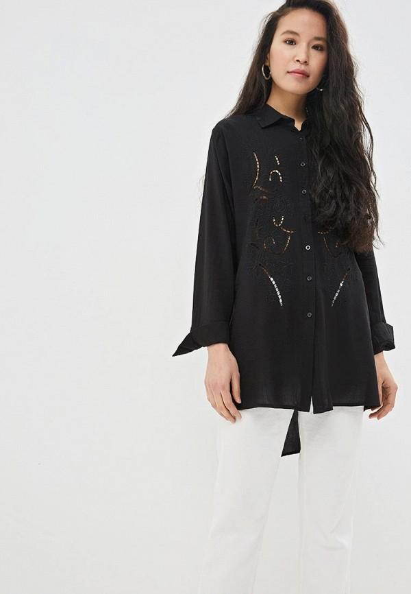женская рубашка с длинным рукавом care of you, черная