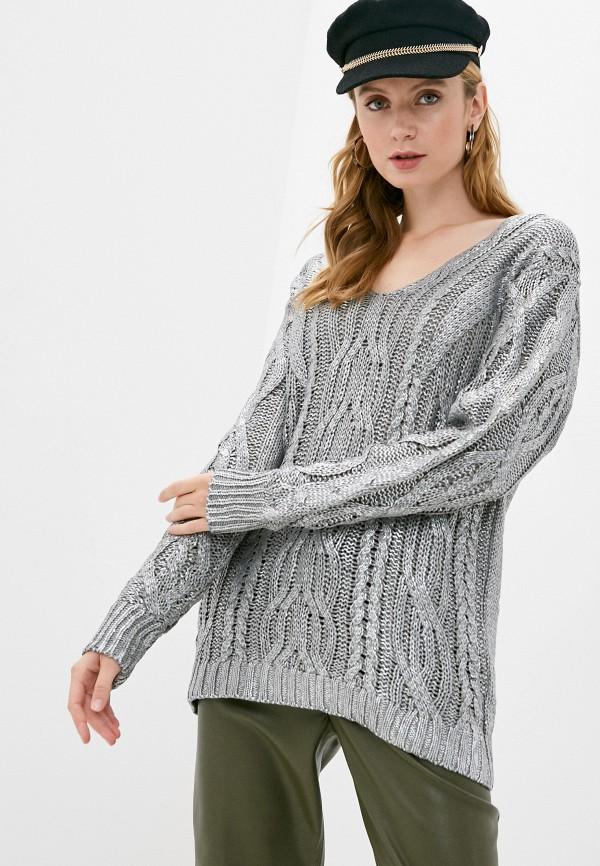 женский пуловер care of you, серебряный