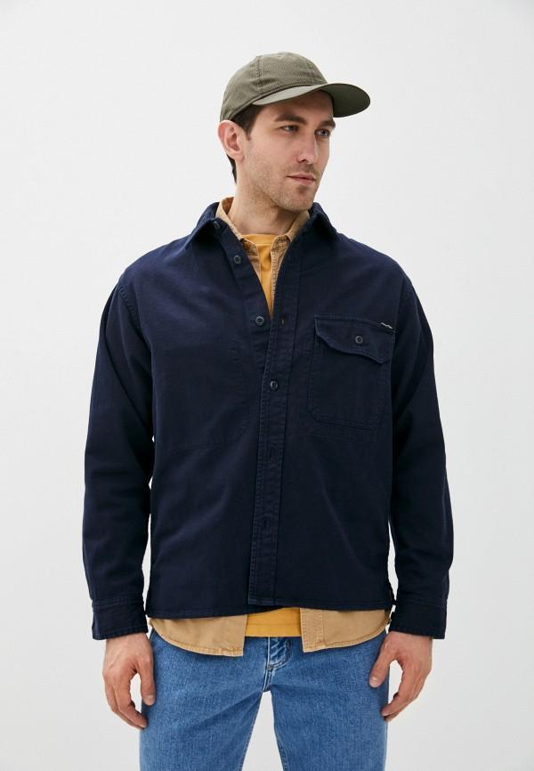 мужская рубашка с длинным рукавом carhartt, синяя