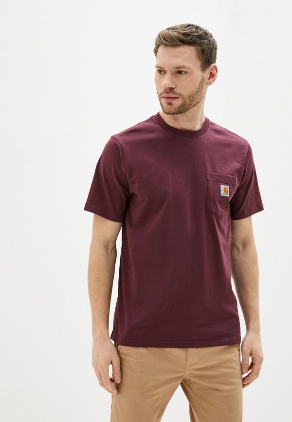 мужская футболка с коротким рукавом carhartt, бордовая