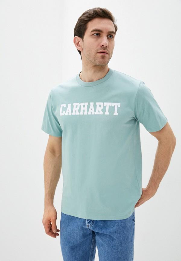мужская футболка с коротким рукавом carhartt, голубая