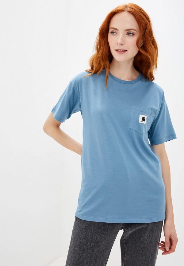 женская футболка carhartt, голубая