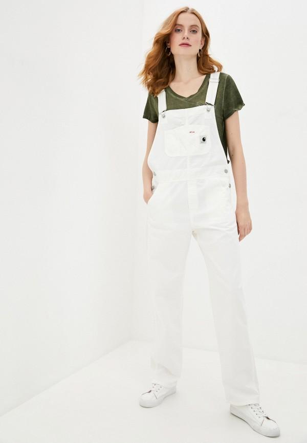 женский джинсовые комбинезон carhartt, белый