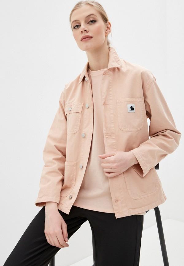 женская джинсовые куртка carhartt, розовая