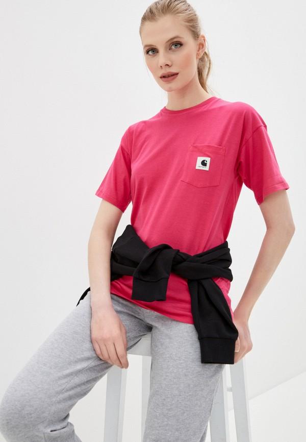 женская футболка carhartt, розовая