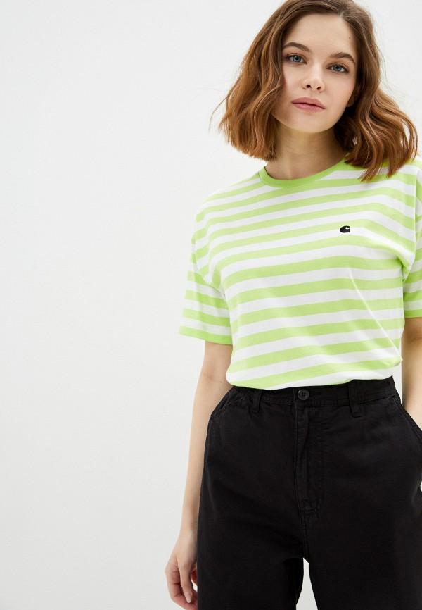 женская футболка carhartt, зеленая